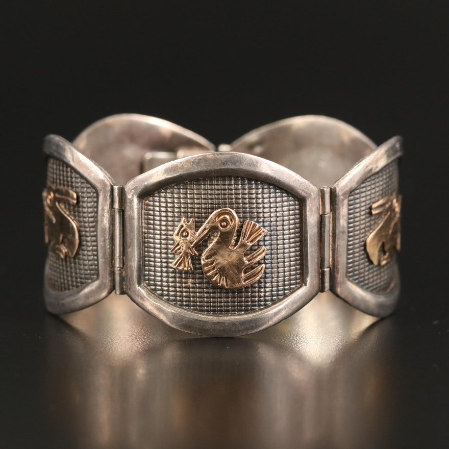 Peruvian Sterling Incan Bird and Feline Panel Bracelet with 18K Accents