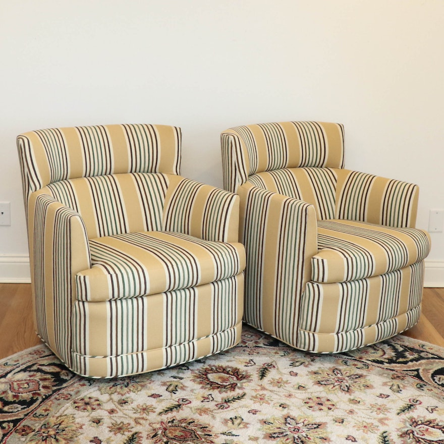Pair of Jessica Charles Swivel Barrel Armchairs in Textured Stripe Upholstery