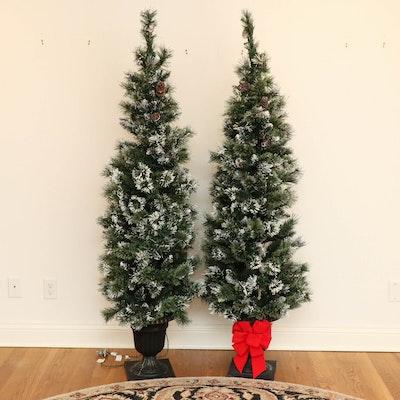 6' Flocked Pine Pre-Lit Christmas Trees in Resin Urns