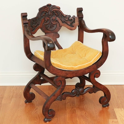 """Renaissance Revival Carved Wood """"Green Man"""" Armchair, Early 20th Century"""