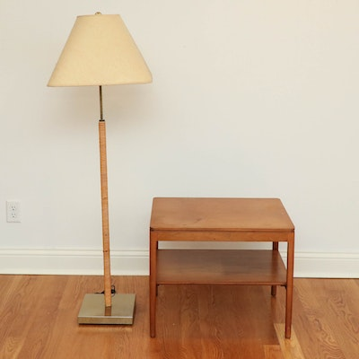 Drexel Mid Century Modern End Table with Rattan Wrapped Brass Floor Lamp