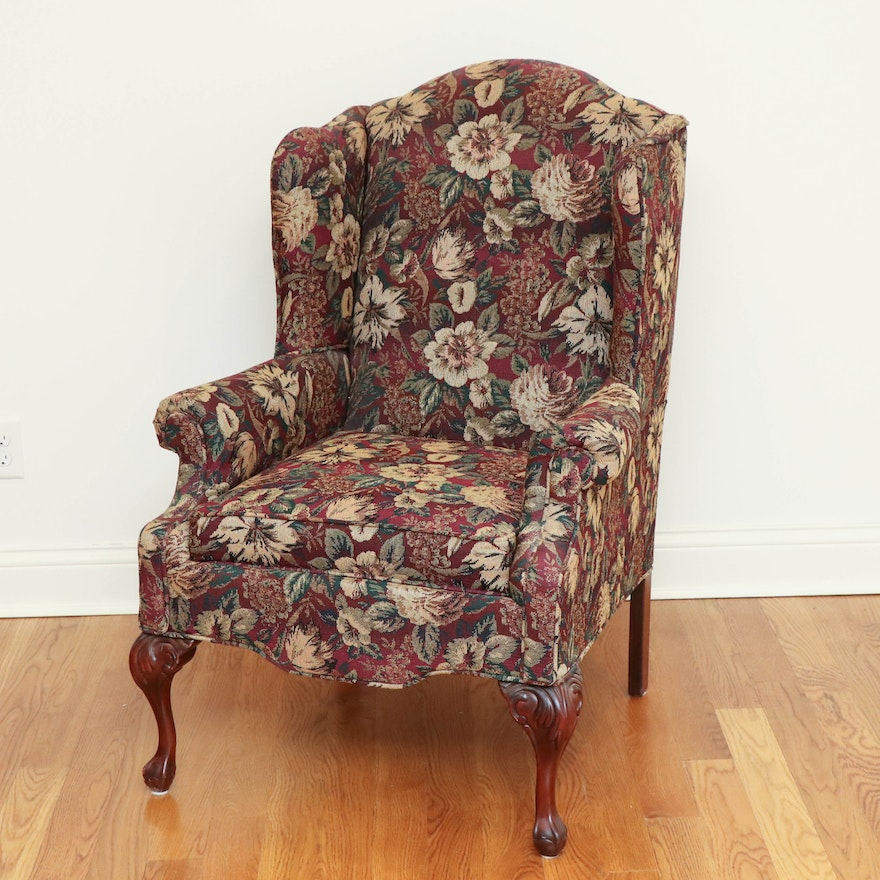 Rowe Floral Upholstered Wingback Chair on Ball and Claw Mahogany Feet