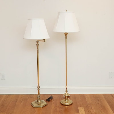 Stiffel Brass Swing Arm and Automax Brass Column Floor Lamps, Mid/Late 20th C