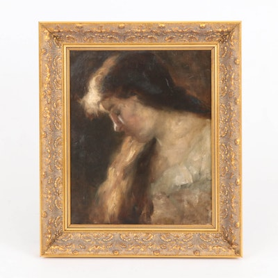Portrait Oil Painting of Pensive Women, Late 19th Century