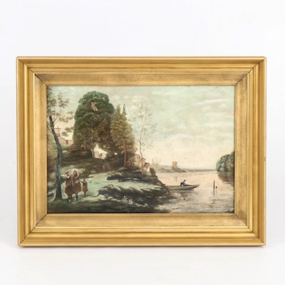Inlet Landscape Oil Painting with Figures, Late 19th Century