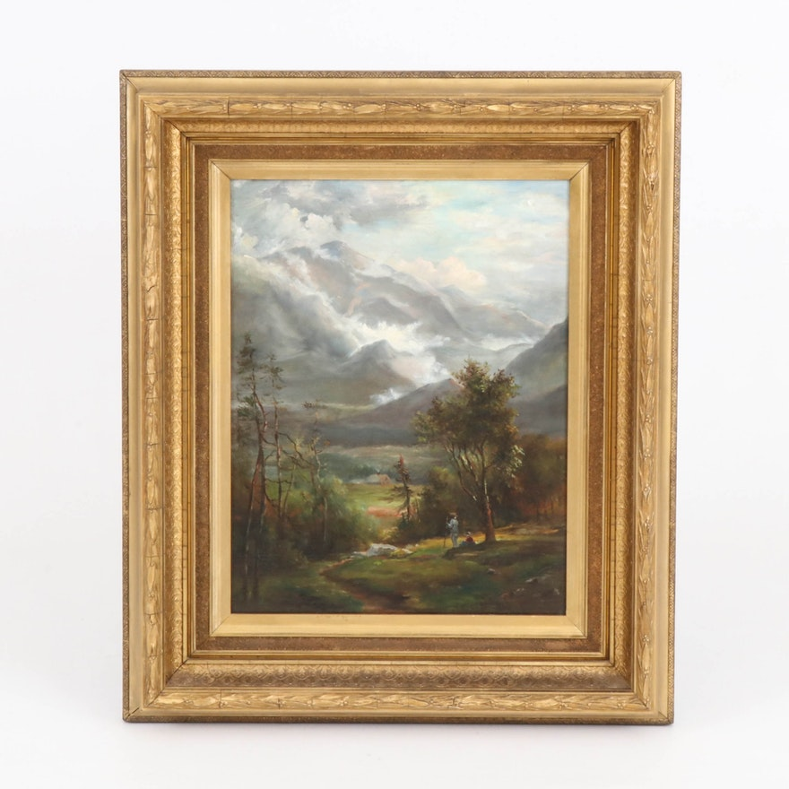 Mountain Landscape Oil Painting with Figures
