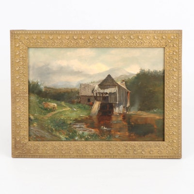 Rural Landscape Oil Painting of Barn on Canal, Early to Mid-20th Century