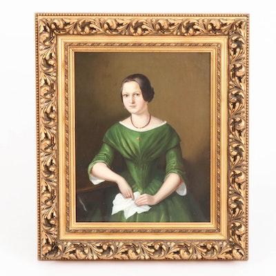 Oil Portrait of Women in Green Dress, Late 19th Century