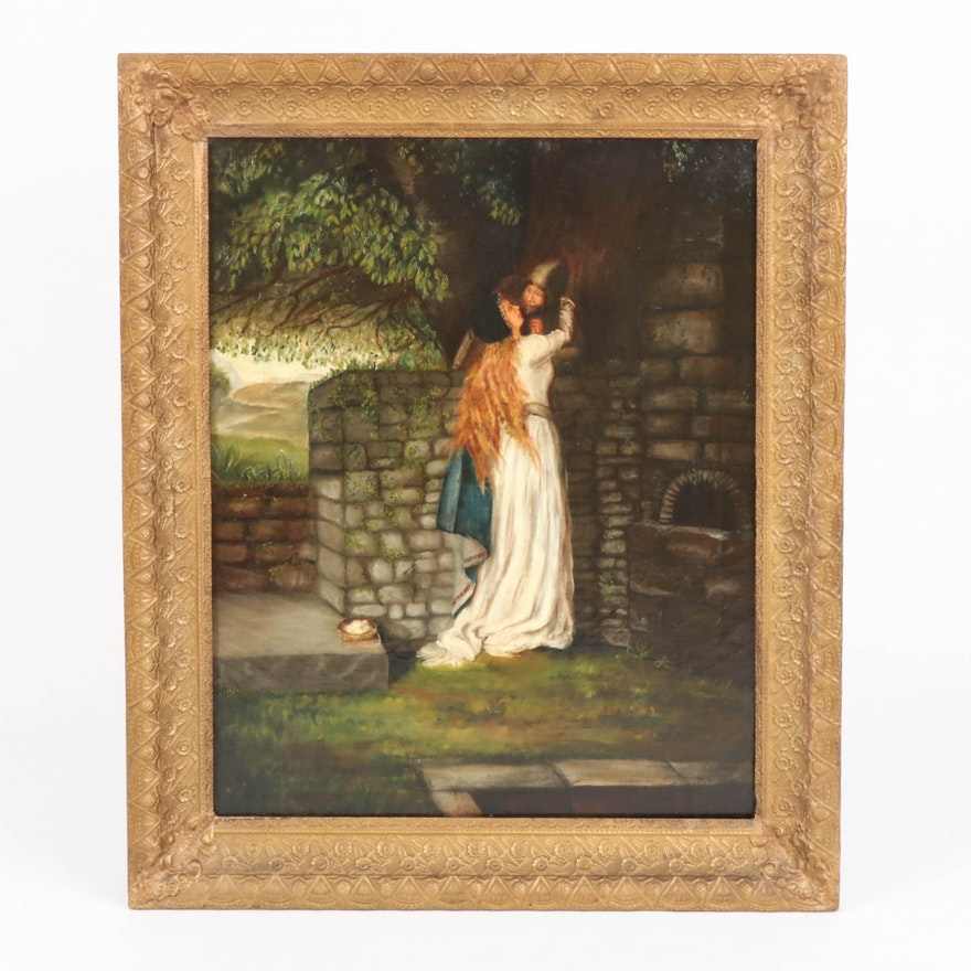 Oil Painting of Embracing  Lovers, 19th Century