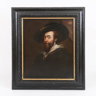 """Oil Painting after Peter Paul Rubens """"Self-Portrait,"""" Late 19th Century"""