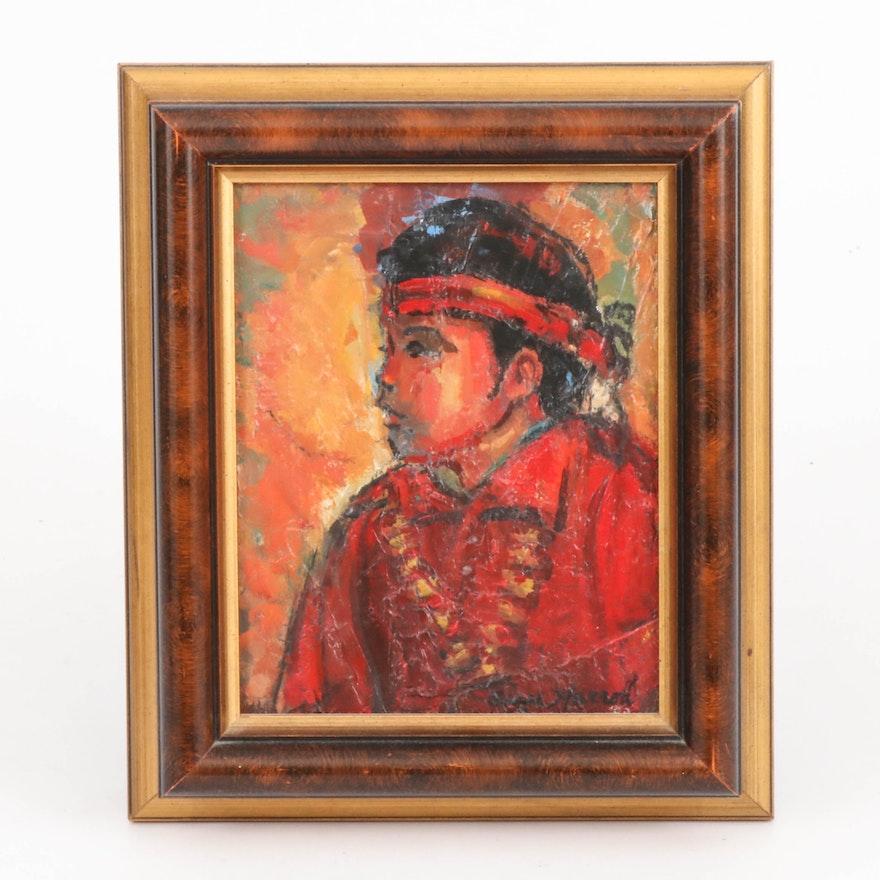 "Ann Harrod Oil Painting ""Indian Boy,"" Late 20th Century"