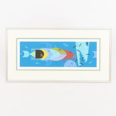 "Charley Harper Serigraph ""Piscine Queues,"" 1989"