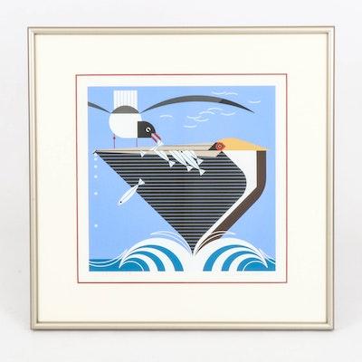 """Charley Harper Serigraph """"Pelican Pantry,"""" 1982"""