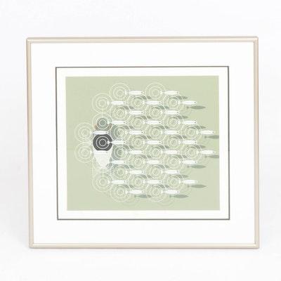 "Charley Harper Serigraph ""Skipping School,"" 1977"