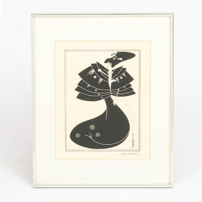 """Lithograph after Aubrey Beardsley """"The Black Cape"""""""