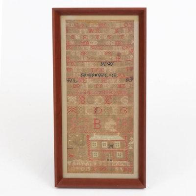 Maryann Peterson Cross-Stitch Alphabet and Needlework Sampler, 1799