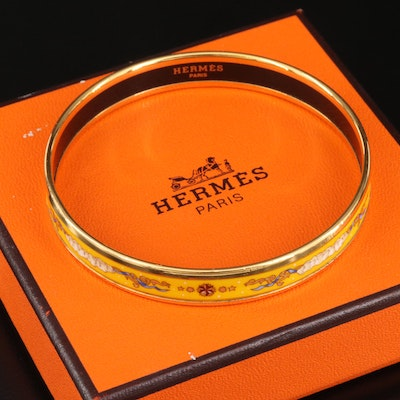 """Hermès """"Clouds and Ribbons"""" Enamel Bangle with Box"""