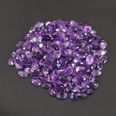 Loose 89.57 CTW Oval Faceted Amethysts