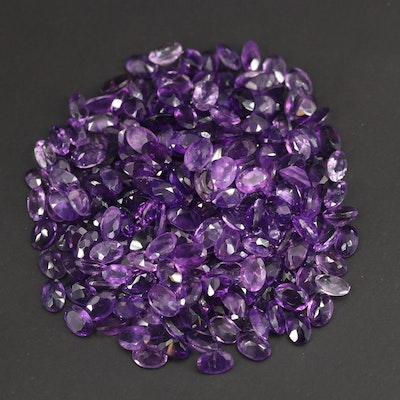 Loose 107.64 CTW Oval Faceted Amethysts