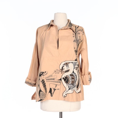 Lenore Szesko Embellished Blouse with Hand-Drawn Designs and Appliqué