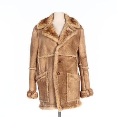 Men's Tan Shearling Coat with Notched Collar