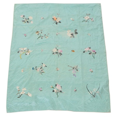 Hand-Embroidered Chinese Style Floral Satin Coverlet