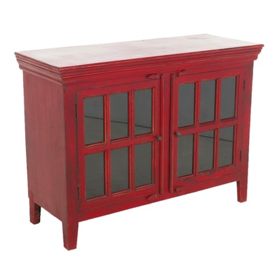 Contemporary Painted Wood Media Cabinet