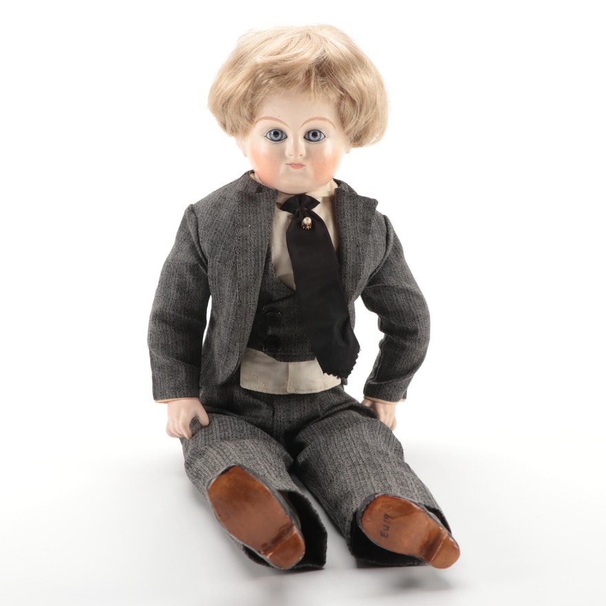 "Cuno & Otto Dressel Papier-mâché ""Waschecht"" Doll, Early 20th Century"