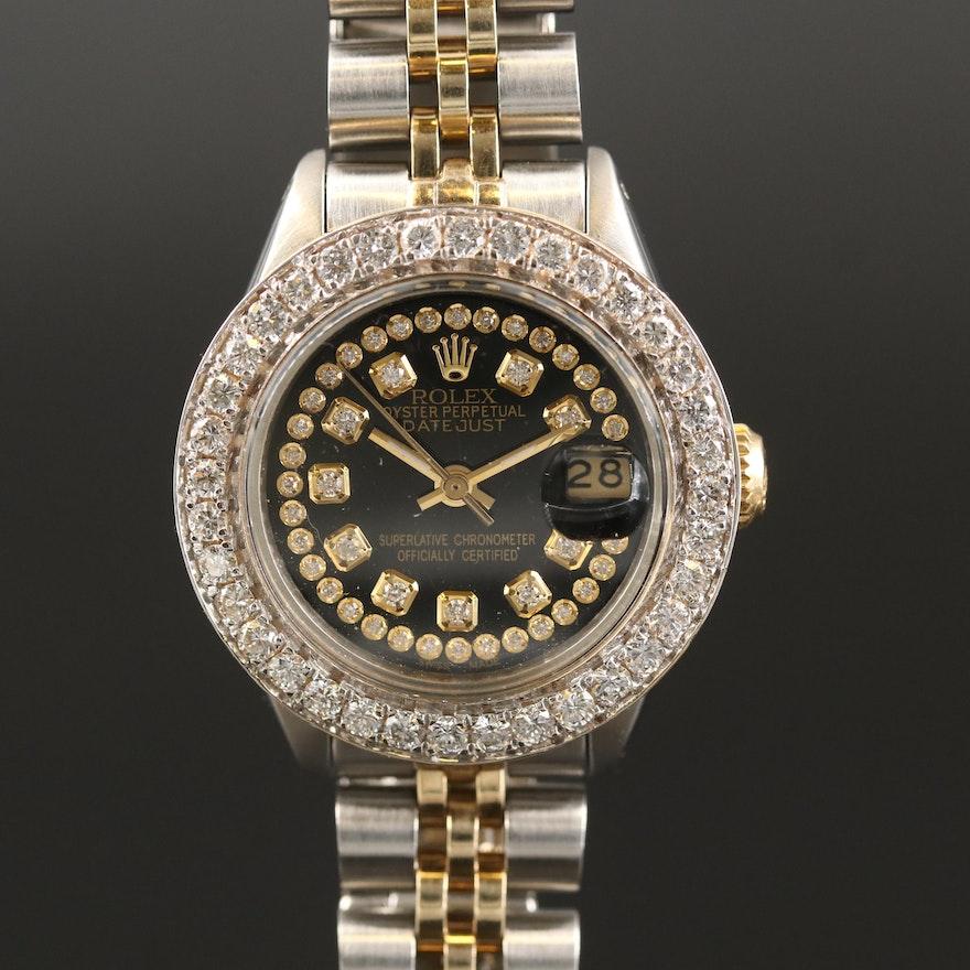 1978  Rolex Datejust 14K Gold and Stainless Steel 1.50 CTW Diamond  Wristwatch