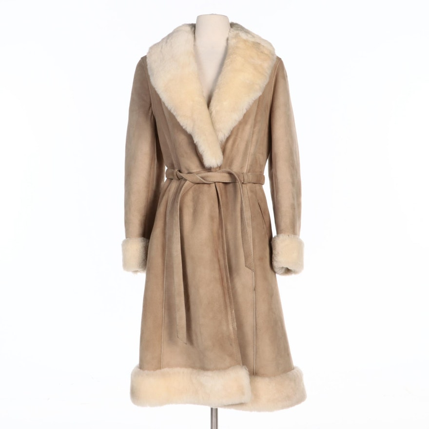 Leda Spain by Gropper Suede and Shearling Coat with Tie Belt
