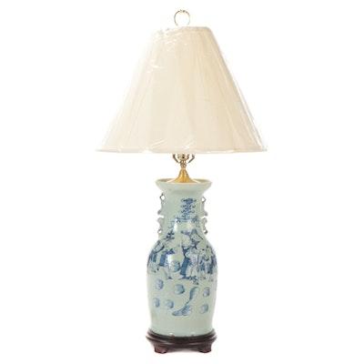 Chinese Blue on Celadon Phoenix Tail Ceramic Vase Table Lamp