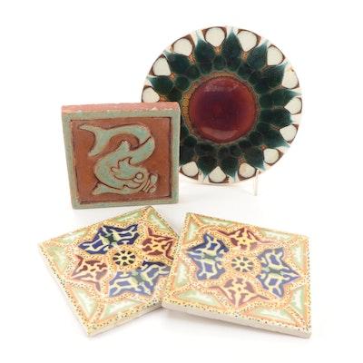 Alan Wallwork Art Pottery Trivet Tile with Other Decorative Ceramic Tiles