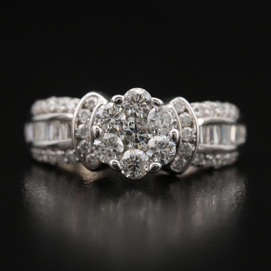 14K 1.30 CTW Diamond Cluster Ring
