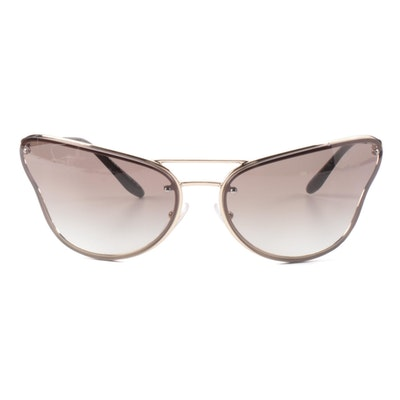 Prada Modified Cat Eye Metal Frame Sunglasses with Case