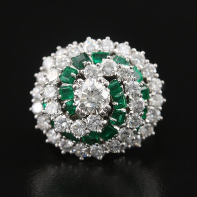 Platinum 2.69 CTW Diamond and Emerald Swirl Ring with GIA Diamond Dossier