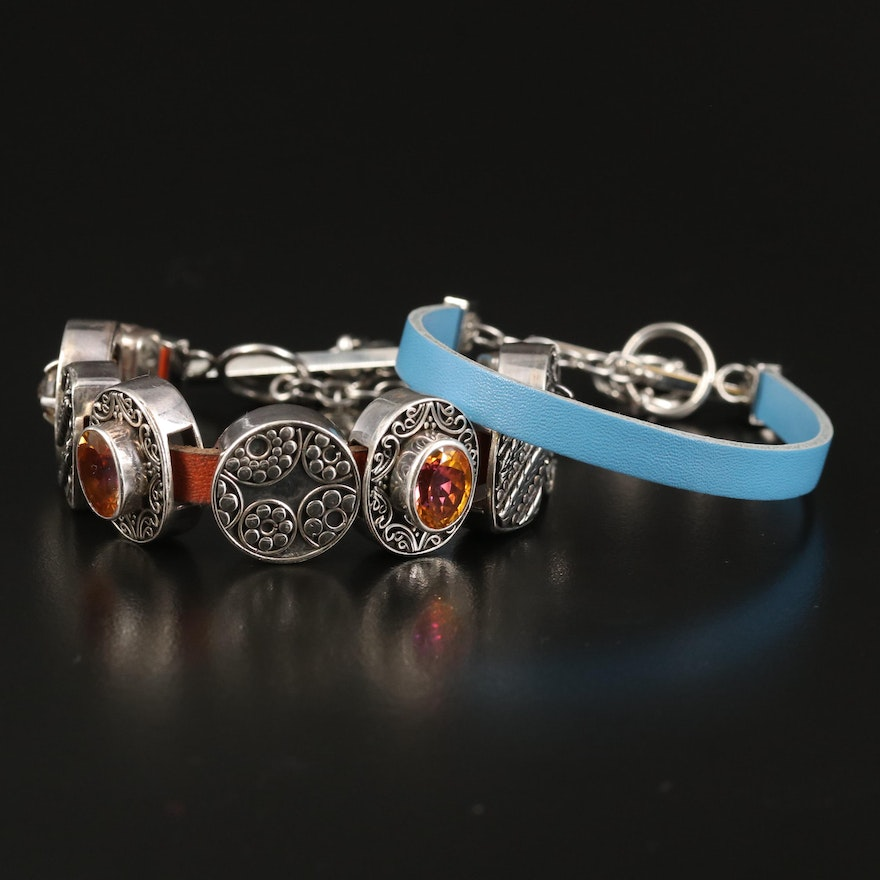 Lori Bonn Slide Charm and Leather Bracelets with Sterling Silver