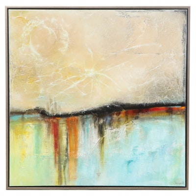 """Mélanie Simard Acrylic Painting """"Le Courant de nos Émotions,"""" 2007"""