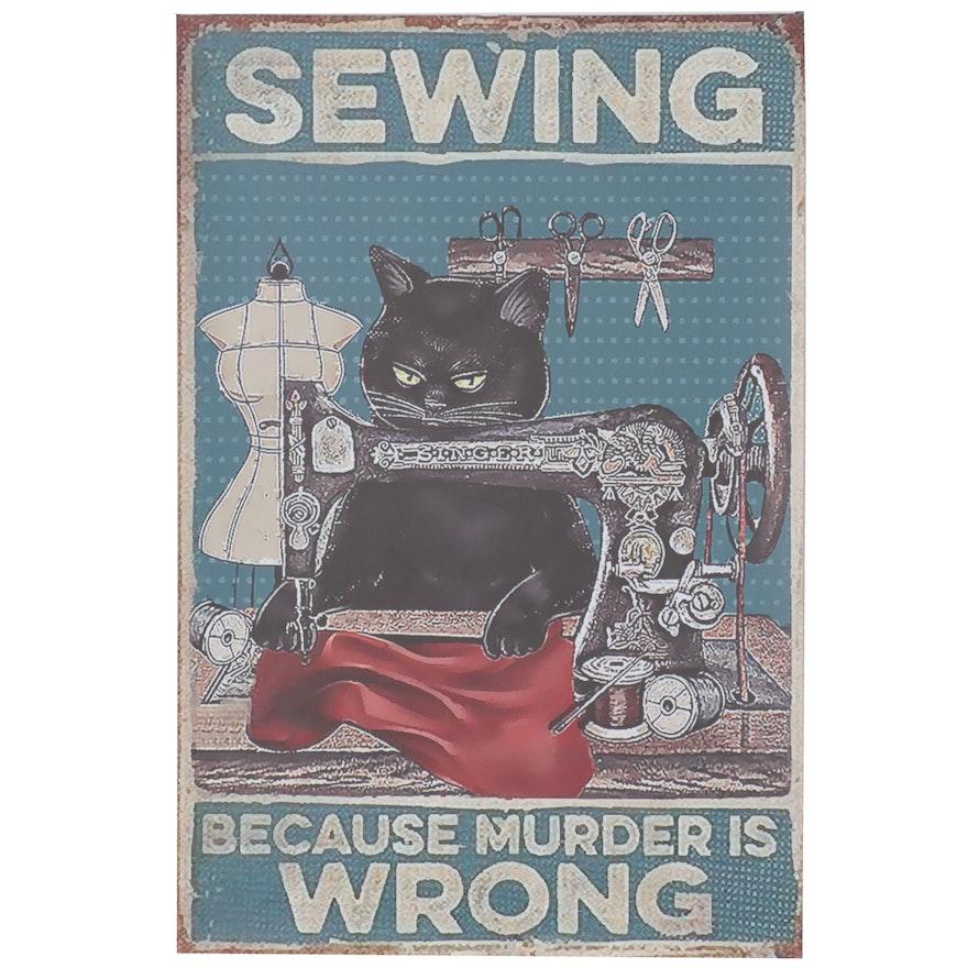Giclée of Black Cat Sewing, 21st Century