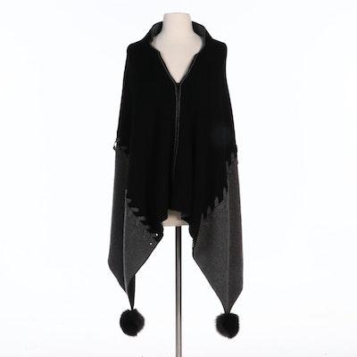 Mitchie's Wool Knit Fox Fur Pom-Pom Side Tail Poncho with Merchant Tag
