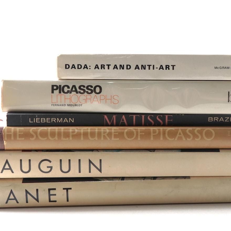 Art Reference Books on Manet, Picasso, and More, Mid to Late 20th Century