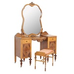 Jacobean Revival Vanity Table with Mirror and Bench, circa 1940