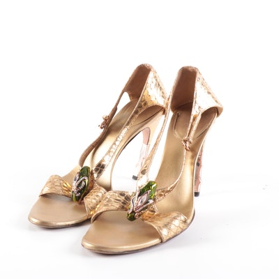 Gucci Bamboo Embellished Metallic Python High-Heeled Sandals