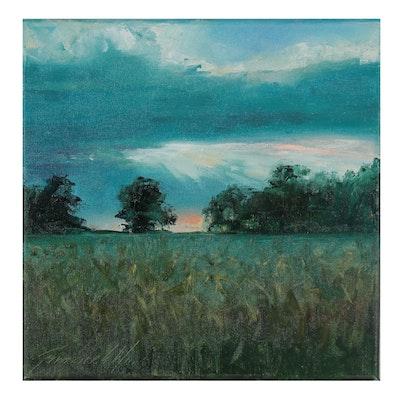 "Garncarek Aleksander Oil Painting ""Pod Wieczór,"" 2021"