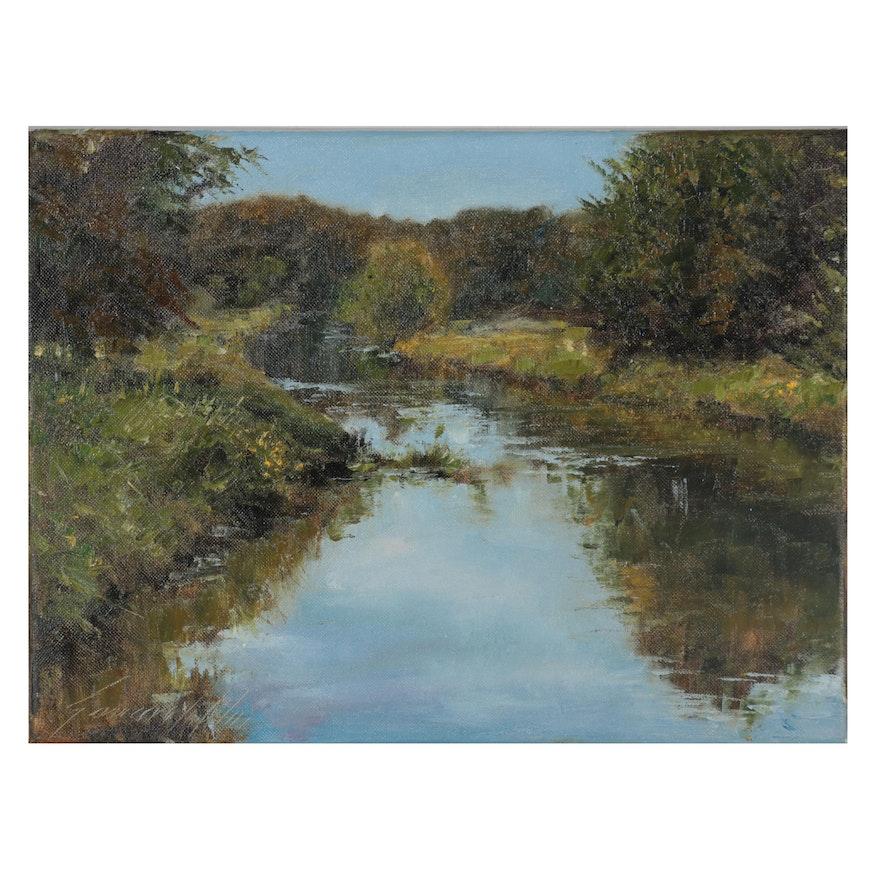 "Garncarek Aleksander Landscape Oil Painting ""Rzeka,"" 2021"