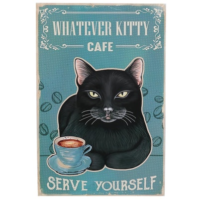 """Giclée Poster of Black Cat """"Whatever Kitty Cafe"""""""