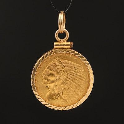 14K 1915 Indian Head $2.50 Gold Quarter Eagle Pendant