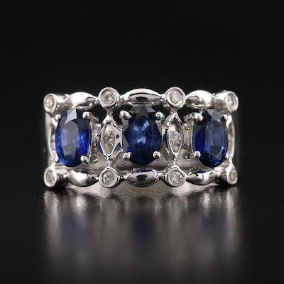 14K Sapphire and Diamond Openwork Ring