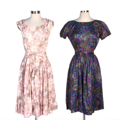 Nelly Don Pink Floral and Gay Gibson Purple Floral Party Dresses