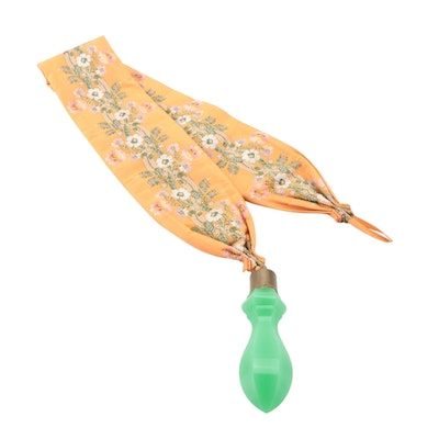 Silk Floral Embroidered Bell Pull with Green Opaline Glass Handle, 19th Century