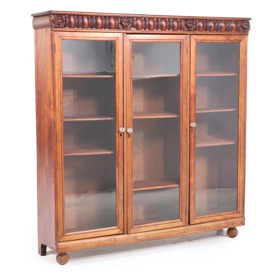 American Renaissance Revival Birch Triple-Door Bookcase, Early 20th Century